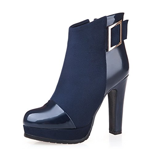 WeenFashion Women's Platform PU High-Heels Round-Toe Boots with Platform Women's and Slipping Sole B016EHAILI Parent 641fcb