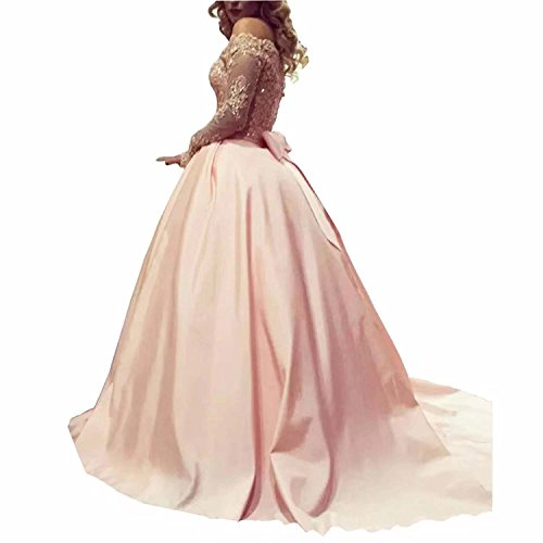 Women's Ball Gown Off Shoulder Long Sleeve Prom Dresses with Lace and Beadings Long Evening Dress
