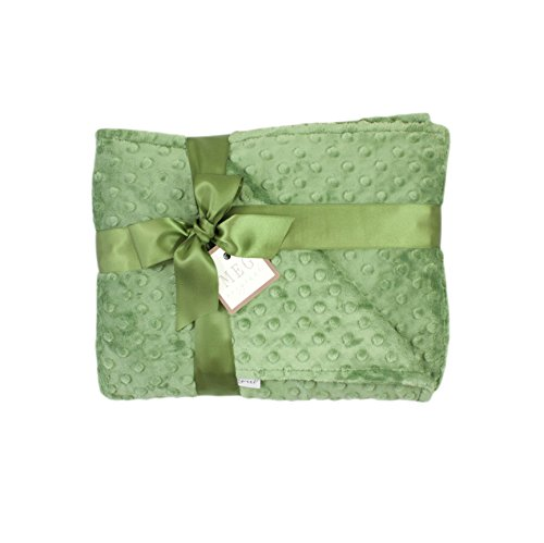(MEG Original Dark Sage Green Minky Dot Baby/Toddler Crib Blanket 6790)