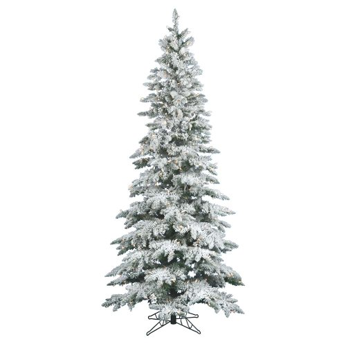 Vickerman Flocked Slim Utica Tree with Dura-Lit 400 Clear Lights, 7.5-Feet by -