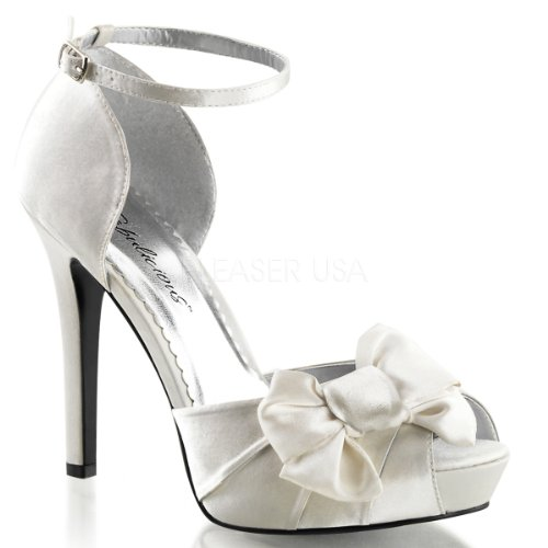 """FABULICIOUS LUMINA-36 Women's 4 3/4"""" Heel, 1"""" Platform Ankle Strap D'Orsay Pump, Color:IVORY SATIN, Size:7"""