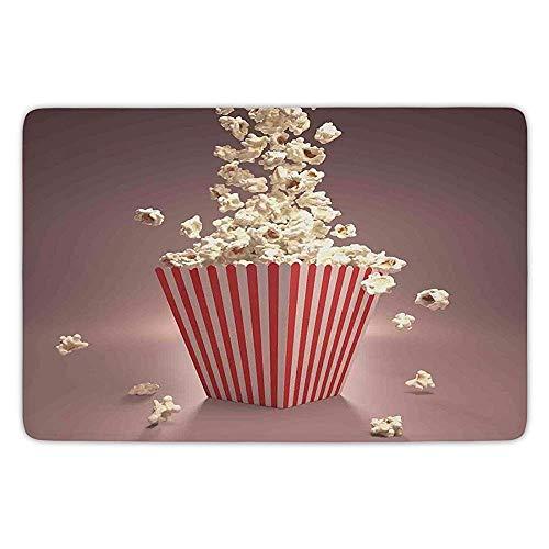 Flannel Popcorn - Bathroom Bath Rug Kitchen Floor Mat Carpet,Modern,Retro Style Popcorn Art Image Home Cafe Design Kitchenware Cardboard Vintage Cinema,Light Red White,Flannel Microfiber Non-Slip Soft Absorbent