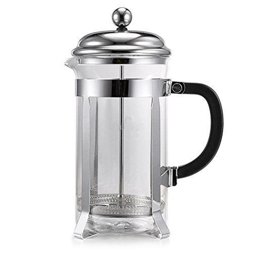 Espresso French Coffee Tea Maker & 8-Cup Coffeemaker, Glass Container, Stainless Filter, Heat Resistant Glass Infuser Strainer