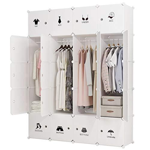 KOUSI Portable Clothes Closet Wardrobe Bedroom Armoire Dresser Cube Storage Organizer, Capacious & Customizable, White, 8 Cubes & 4 Hanging Clothes