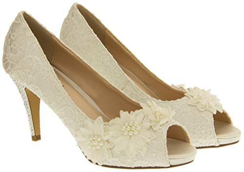 Glamour N Glitz Femmes Satin Chaussures Ivoire Dentelle