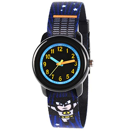 Venhoo Kids Watches Cute Cartoon Waterproof Fabric Strap Children Toddler Wrist Watch Time Teacher Birthday Gift 3-10 Year Girls Boys Little Child-Black