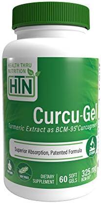 Curcu-Gel 325mg BCM-95 High Absorption Bio – Curcumin Complex – Soy-Free – Non GMO 250mg Total Curcuminoids with Essential Oils of Turmeric Rhizome 60 Softgels