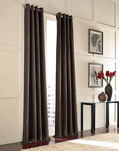 "Curtainworks Messina Grommet Cotton Curtain Panel, 52 by 144"", Chestnut"