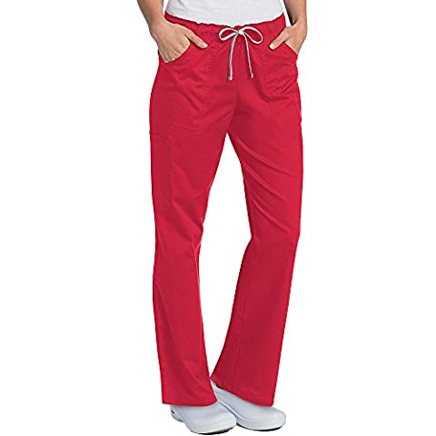 All Day By Landau Women's Full Elastic Cargo Scrub Pant Medium True Red - Elastic Cargo Scrub Pants