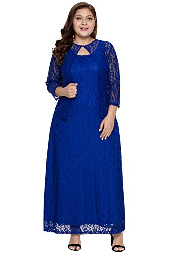 Women's Solid 3/4 Sleeve Sexy Hollow-outed Luxuriant Floral Lace Overlay Long Soft Tank Maxi Nadia Plus Size Dress Blue XXXXL ()