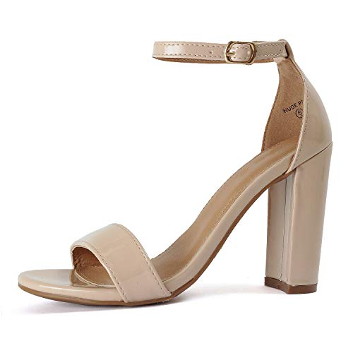 Guilty Shoes - Womens Comfort High Heel Sandal - One Band Open Toe Ankle Strap Sexy Dress Chunky Block Heel - Stiletto Sandals (8.5 B(M) US, Nude Pat)