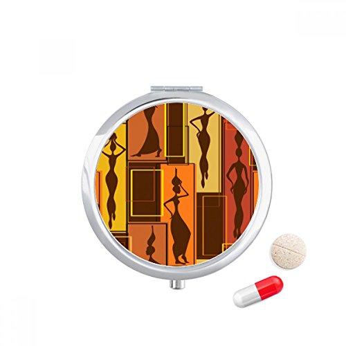 Africa Aboriginal Black Women Art Abstract Travel Pocket Pill case Medicine Drug Storage Box Dispenser Mirror Gift by DIYthinker