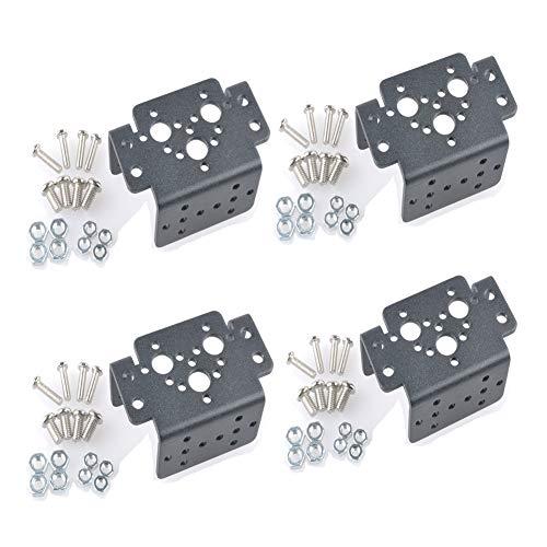 (4 pcs Aluminum Multifunction Servo Bracket Steering Head Robot Manipulator for MG995 MG996R)