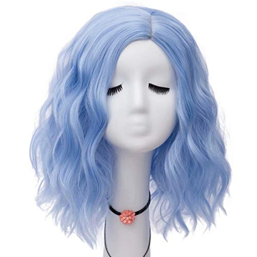Lefinis Sky Blue 14 Inches Women Girls Short Curly Synthetic Heat Resistant Cosplay Party Wigs Side Part
