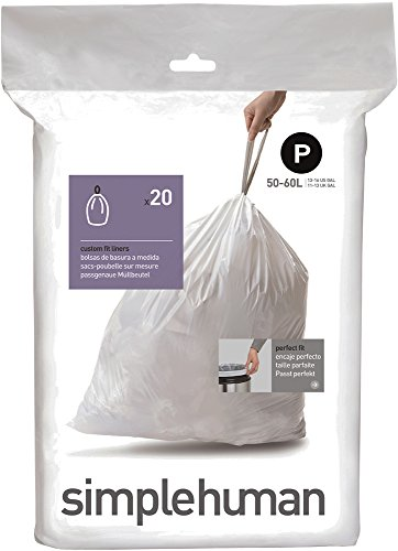 Price comparison product image simplehuman Code P Custom Fit Trash Can Liner,  1 refill pack (20 liners),  50 -60 L / 13-16 Gal