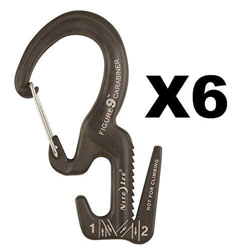 Nite Ize Figure 9 Carabiner Small Rope Tightener Aluminum Tie Down Tool (6-Pack)