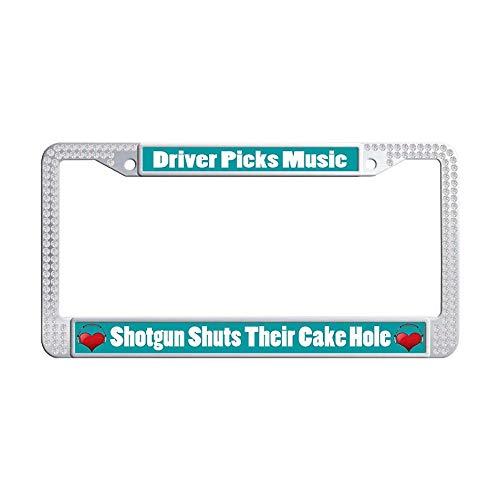 Nuoyizo White Bling Crystal Car tag Frame Driver Picks Music Shotgun Shuts Their Cake Hole Cool Shining Rhinestones Metal Waterproof Stainless Steel Car License Plate Holder