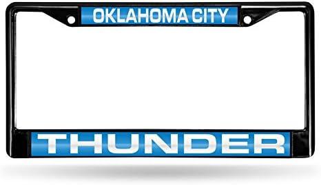 NBA Rico Industries  Laser Cut Inlaid Standard Chrome License Plate Frame Oklahoma City Thunder