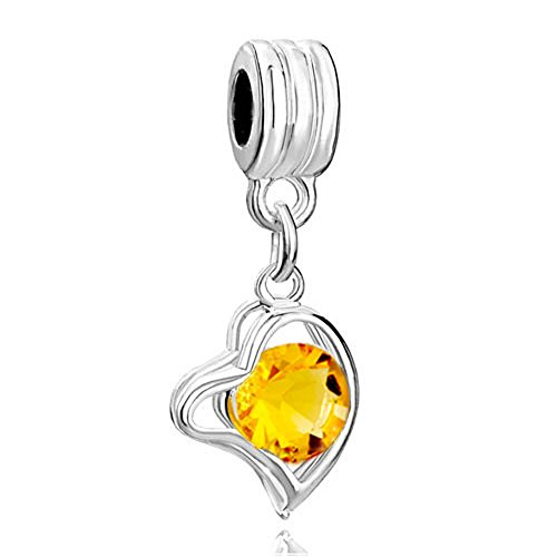 RUBYCA 5Pcs Heart Dangle Pendant Charm Beads Crystal Rhinestone European Bracelet Amber Gold