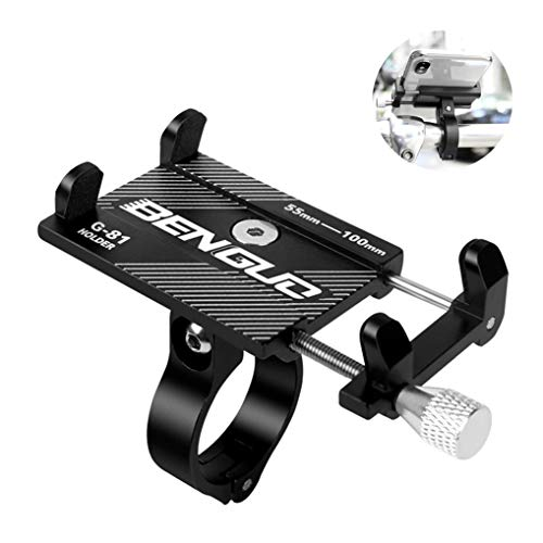 GuDoQi Soporte universal para teléfono de bicicleta Soporte para teléfono ajustable en 90 ° para bicicleta Bicicleta Soporte de teléfono para motocicleta de aleación de aluminio con diseño antideslizante para teléfonos inteligentes de 3.5 a 6.2