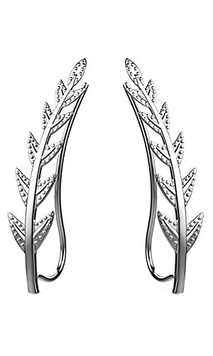 Ear Crawler Cuff Earrings 14k White Gold Over Sterling Silver (Cuff White Gold Earrings)