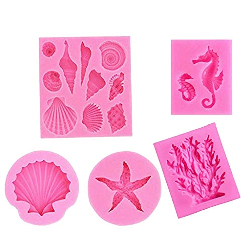 TANGON Seashell Silicone Fondant Mold Big Sea Shells Chocolate Candy Starfish Hippocampus Coral Mold Baking Decorating Tool for Ocean Theme Wedding Birthday Party Cake Decoration