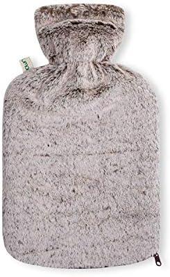 UMOI PVC Wärmflasche 1.8 Liter mit kuschligem Mink Fell Bezug