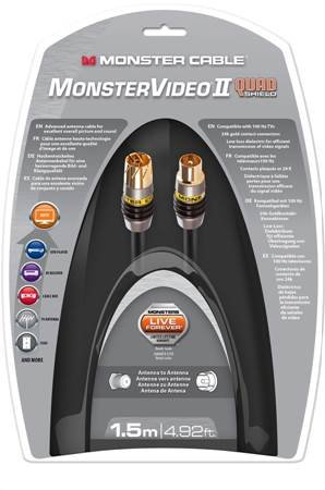 Monster MC MV2 A Quad pcx-1.5 m WW Cable de Antena PAL coaxial Negro