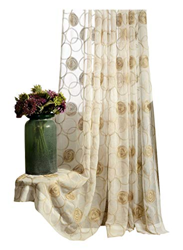 Aside Bside Sheer Voile Window Curtains Rod Pocket Vintage Circle Embroidered Home Decorative Tulle Drapes for Living Dining Room(1 Panel, W 100 x L 84 inch, Brown)