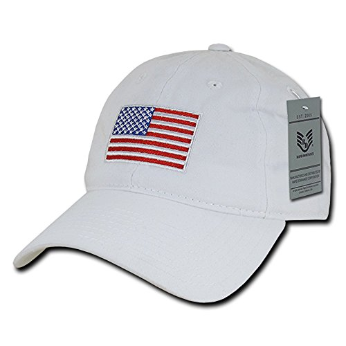 RapDom Polo Style American Pride Flag Baseball Caps - Original White
