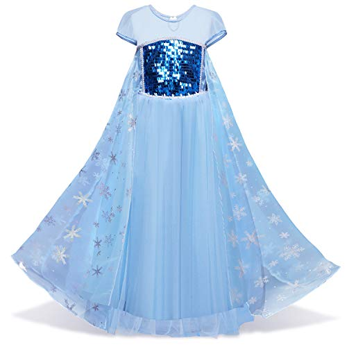 LENSEN Tech Girls Sequin Princess Elsa Costume Halloween Snow Queen Dress up (Blue, -