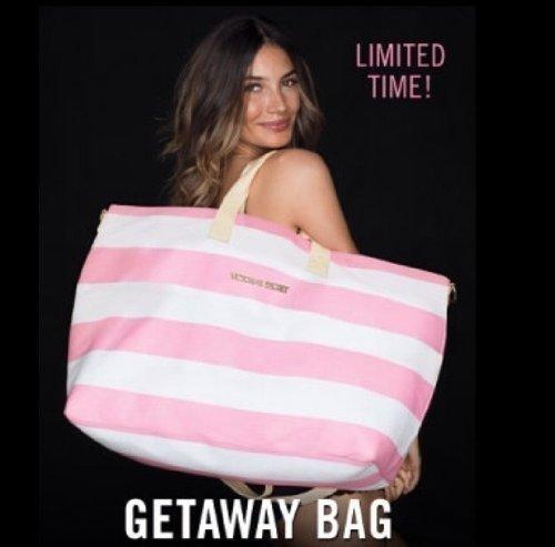 (Victoria's Secret Beach Weekender Limited-Edition Duffle Getaway Bag 2013 + BONUS VS PINK Decal, NEW!)