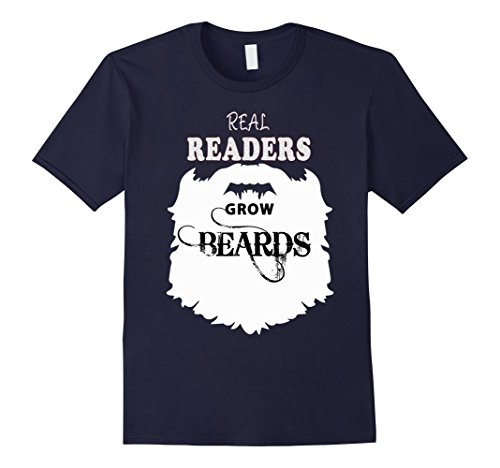 Mens Real Readers beards t shirts, book reading b day tee costume 3XL Navy
