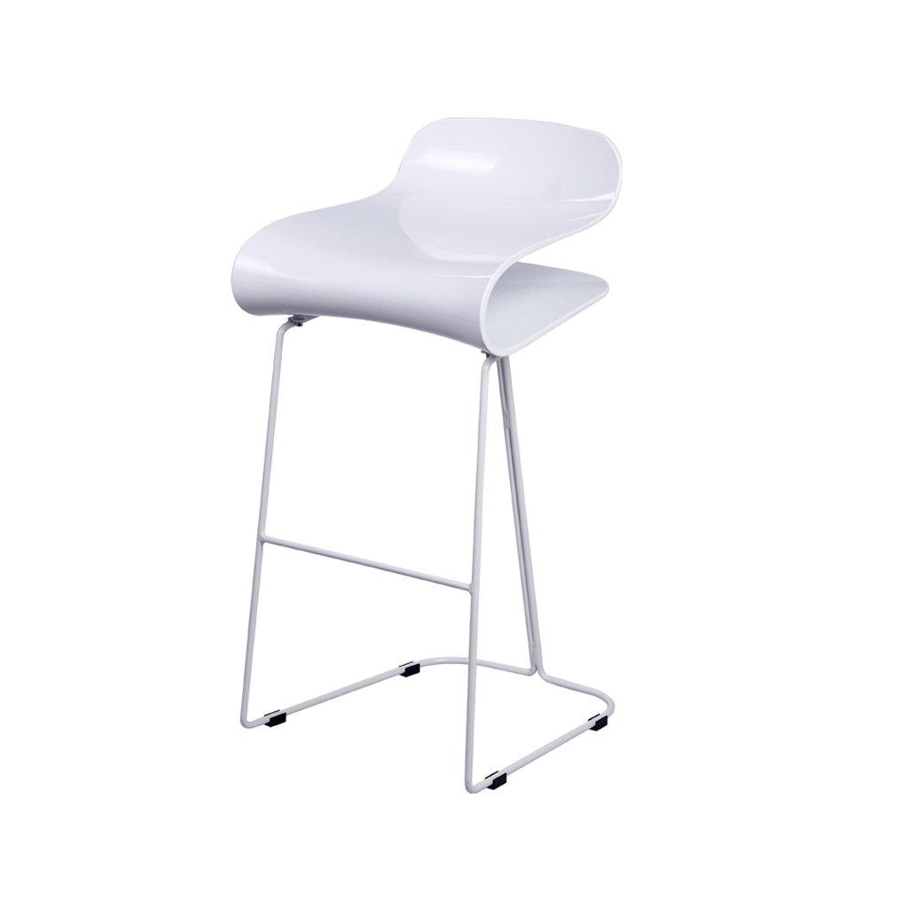 ノルディックミニマリストバーチェア、デザートショップコーヒーレストランチェア、ハイスツール、バースツール、鍛造アイロン、高さ68cm座る (Color : White) B07D9D8D4TWhite
