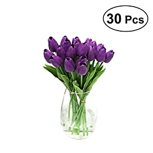WINOMO 30pcs Real Touch Artificial Mini PU Tulips Fake Flowers for Wedding(Purple) 9