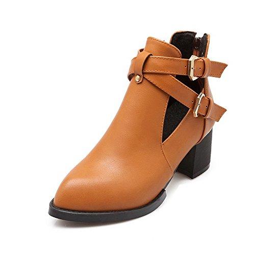Boots Pu Kitten Women's Buckle Low Solid Allhqfashion Yellow Top Heels EqO8BI