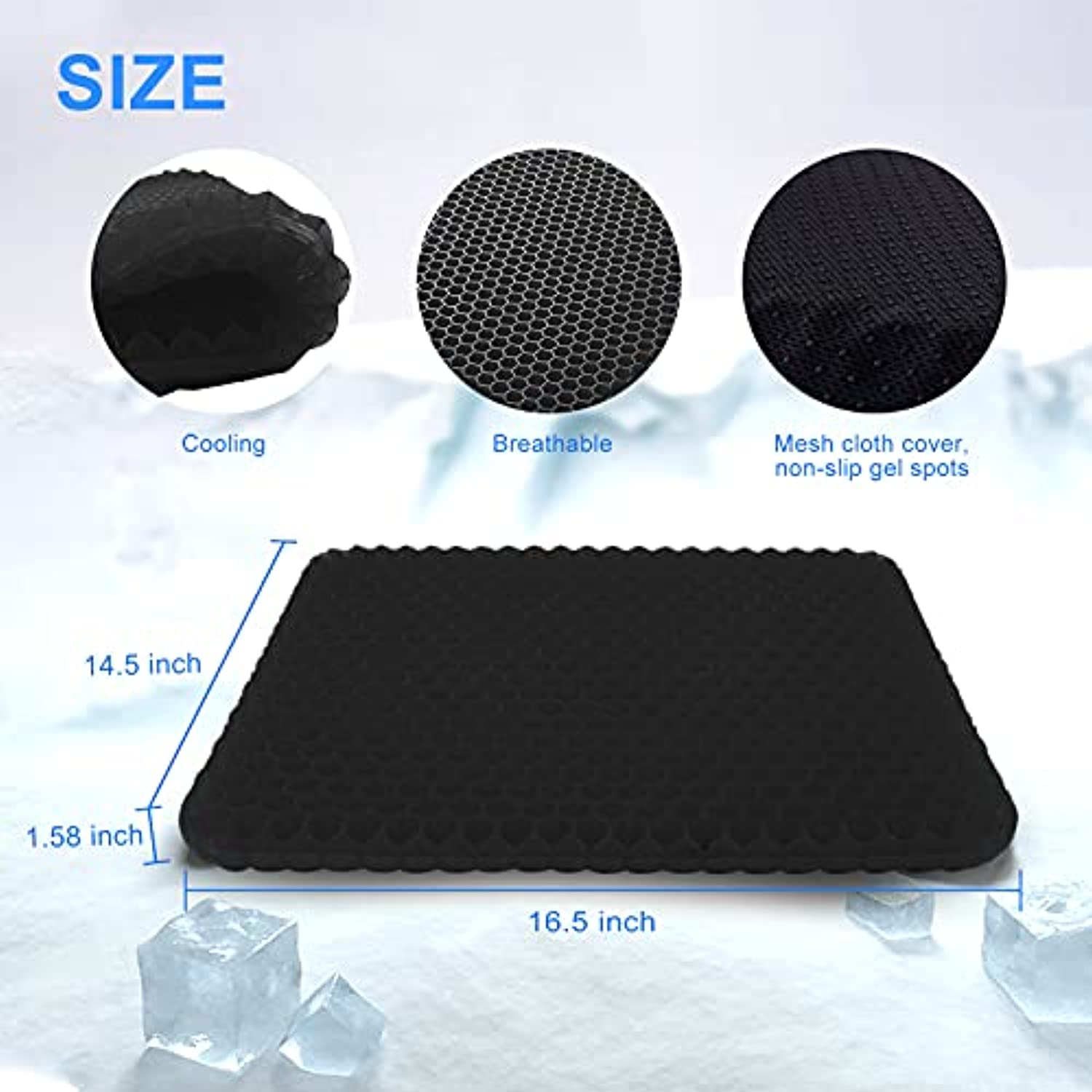 PACK OF 5 Gel Seat Cushions, Black Egg Seat Cushion with Non-Slip Cover Breathable Honeycomb Pain Relief Egg Sitting Cushion for Office Chair Car Wheelchair