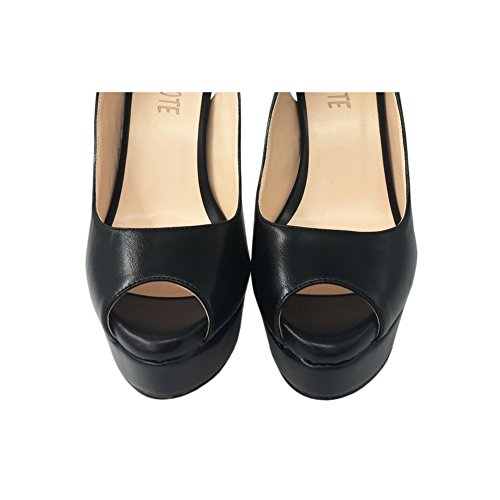 Peep High Slingbacks Heels black Shoes MERUMOTE Matte Toe Platform Pumps Women's w6AEnqI