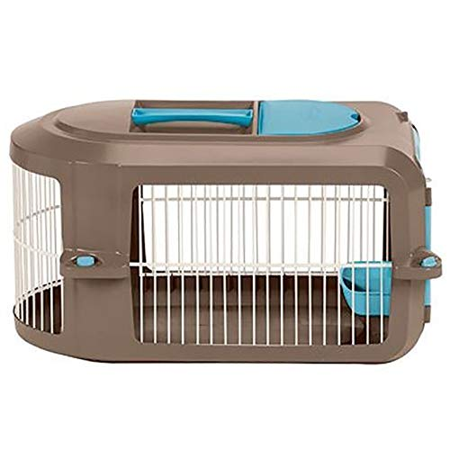 Suncast Portable Dog Crate with Handle for Small and Medium Dogs – Bowl Included – Stylish and Durable Portable Pet Carrier – Dogs up to 30 lbs. – Brown and Light Blue