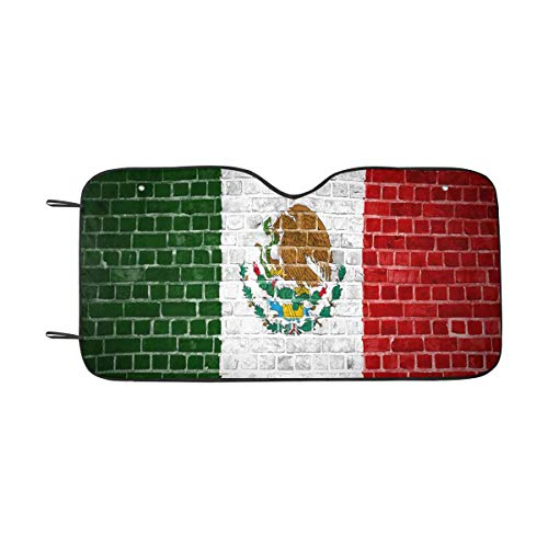 (INTERESTPRINT The Mexico Flag Painted on a Brick Wall Windshield Sunshades, Car Sun Shade Block Sun UV and Heat, Universal Fit)
