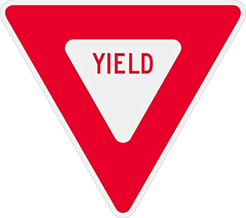 Traffic Signs - R1-2 Yield Sign 10 x 7 Aluminum Metal Sign Street Weather Approved Sign 0.04 Thickness