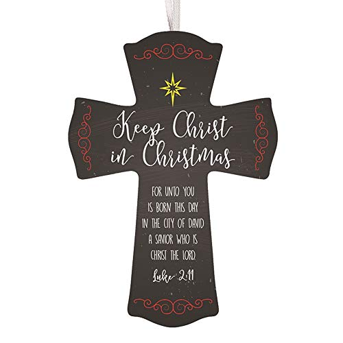 - Keep Christ in Christmas Wooden Cross with Ribbon Hanger, 6 Inch