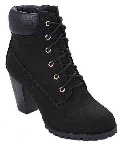 Women Military Combat Lace Up Padded Collar Chunky Heel Ankle Booties