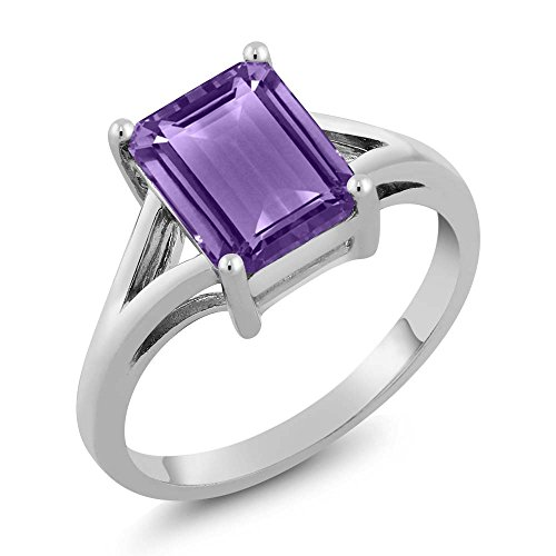 Gem Stone King 925 Sterling Silver Emerald Cut Amethyst Gemstone Birthstone Women