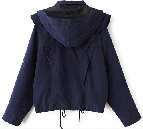 Sleeve Knit Navy Hooded Drawstrings TTYLLMAO Casual Batwing Jackets blue Womens ftqYX