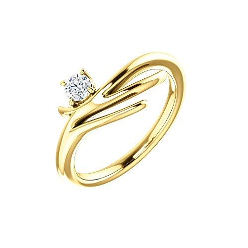 (Bonyak Jewelry 14k Yellow Gold 1/6 CTW Diamond Solitaire Freeform Ring - Size 7)