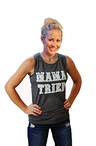 Tough Little Lady Women's Mama Tried Shirt with Country Graphic Top Grey Muscle XL