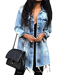 Women's Distressed Denim Jeans Outfits Coat Spring Fall Ripped Jeans Outerwear Denim Jacket