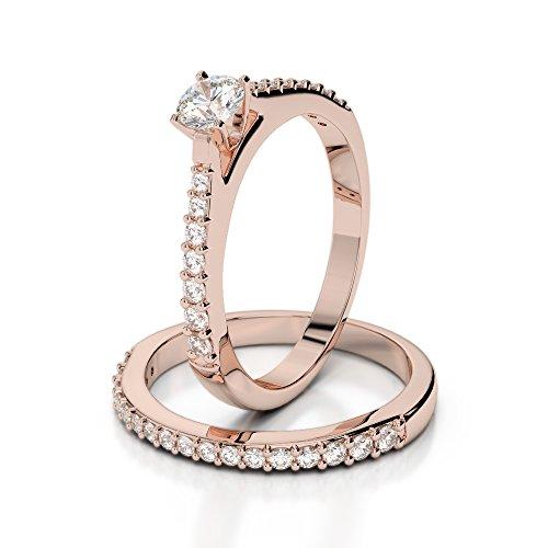 Or Rose 18carats 0,80CT G-H/VS sertie de diamants Coupe ronde de mariage Bague de fiançailles et ensemble de Agdr-2039