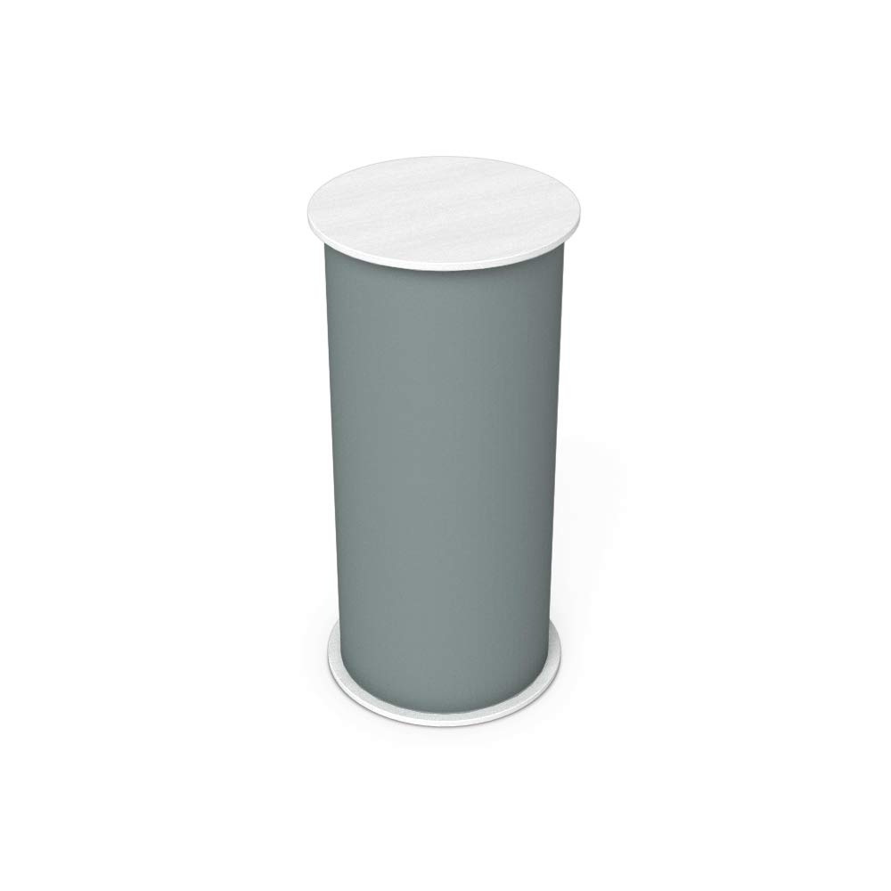 Vispronet Round Portable Exhibition Trade Show Silver Podium Table Counter Stand - Expo Counter Top Design (White)